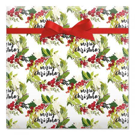 Merry Christmas Wreaths Jumbo Rolled Gift Wrap