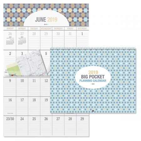 2019 Graphic Quilt Big Grid Planning Calendar with Pockets