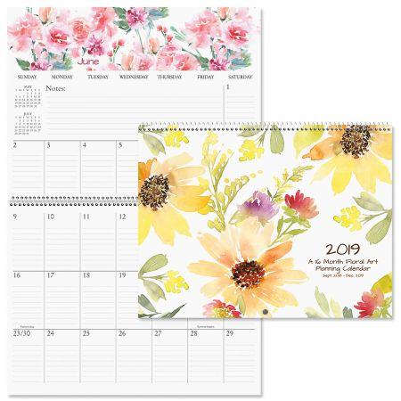 2019 Floral Art Big Grid 16-Month Planning Calendar