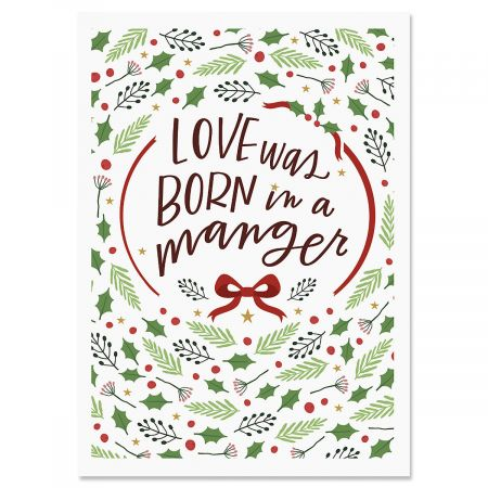 love was born religious christmas cards - Love Christmas Cards