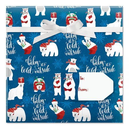 Christmas Polar Bears Jumbo Rolled Gift Wrap and Labels