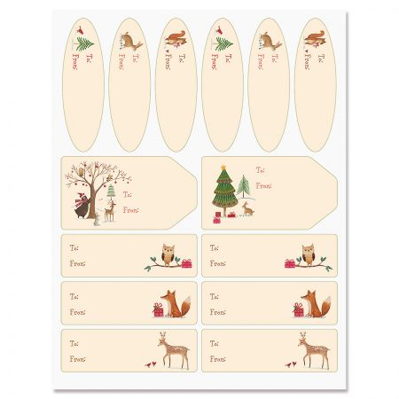 Christmas Woods Jumbo Rolled Gift Wrap and Labels