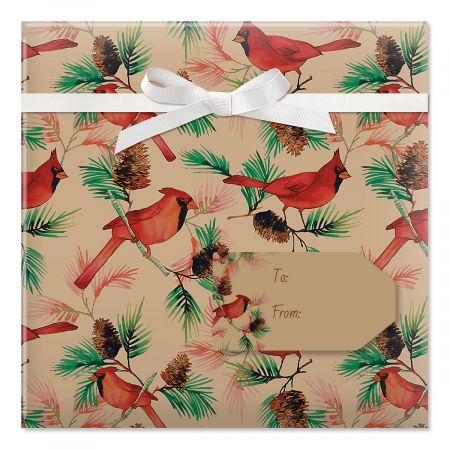 Christmas Cardinals Jumbo Rolled Gift Wrap and Labels