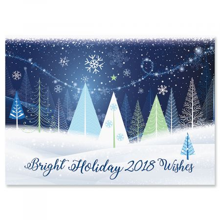Holiday Trees Christmas Cards - Personalized