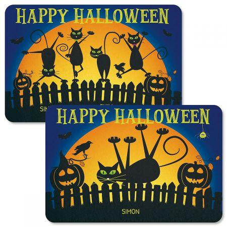 Cat Silhouettes Personalized Halloween Doormats