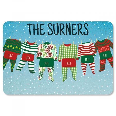 Pajama Family Personalized Christmas Doormat - 6 Names