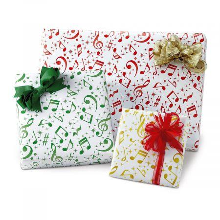 Flat Holiday Music Gift Wrap Sheets - BOGO