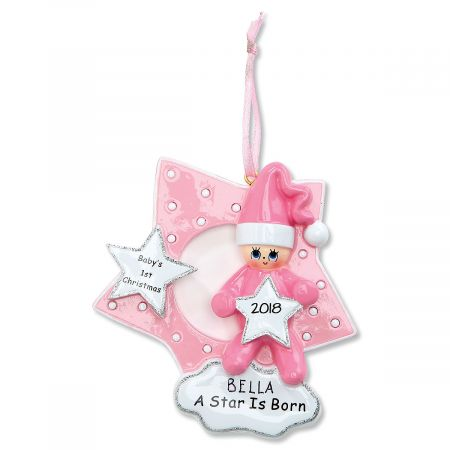 Pink Star Baby's 1st Personalized Christmas Ornament