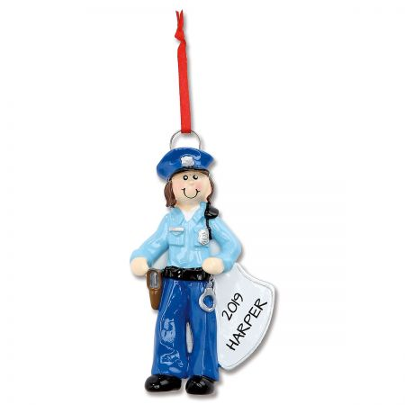 Policewoman Personalized Christmas Ornament