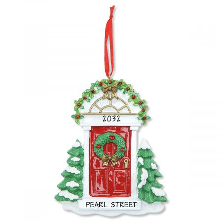 Red Door Personalized Christmas Ornament