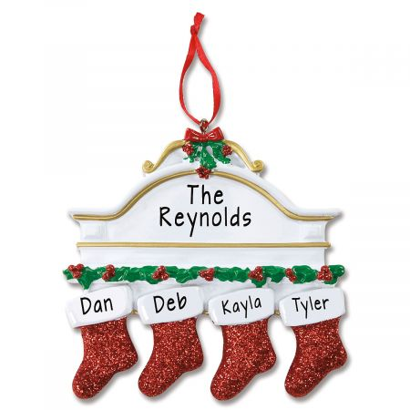 Stockings on Mantel Hand-Lettered Christmas Ornament