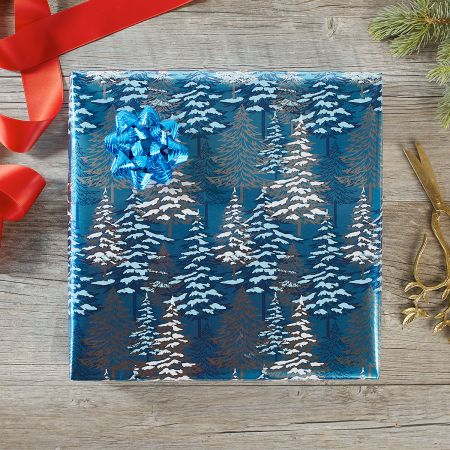 Stacked Trees Foil Rolled Gift Wrap