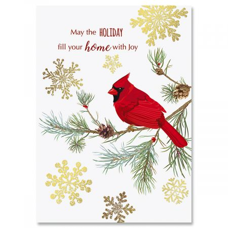 Cardinal In Snow Deluxe Foil Christmas Cards