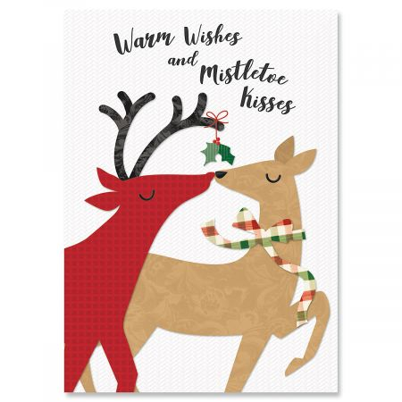 kissing deer christmas cards personalized - Deer Christmas Cards