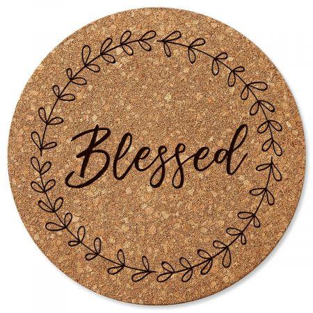 Blessed Round Cork Trivet