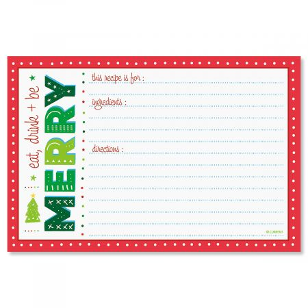 Merry Christmas Recipe Cards