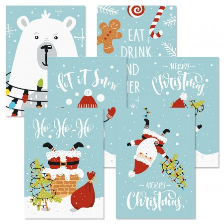 Cool Blue Christmas Greeting Cards