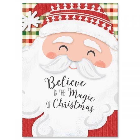 Santa on Plaid Christmas Cards