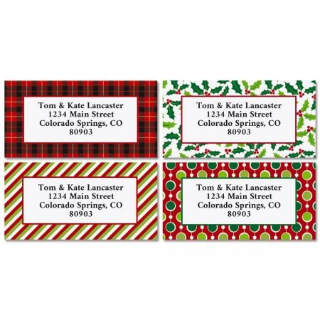 Christmas Designs Border Address Labels (4 Designs) - BOGO