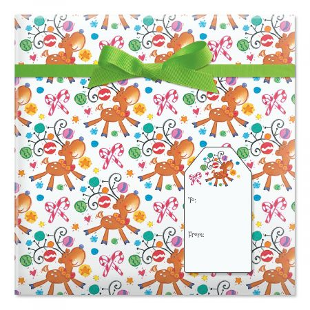 On Prancer Jumbo Rolled Gift Wrap and Labels