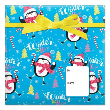 Twirling Penguins Jumbo Rolled Gift Wrap and Labels
