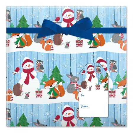 Forest Critters Jumbo Rolled Gift Wrap and Labels