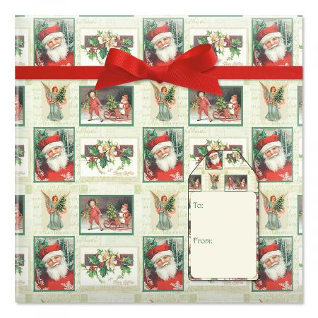 Santa Squares Jumbo Rolled Gift Wrap and Labels