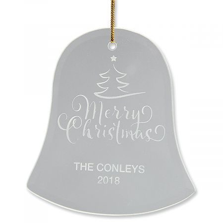 Merry Christmas Bell Glass Personalized Ornament