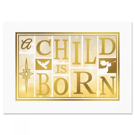 A Child Is Born Religious Deluxe Foil Christmas Cards