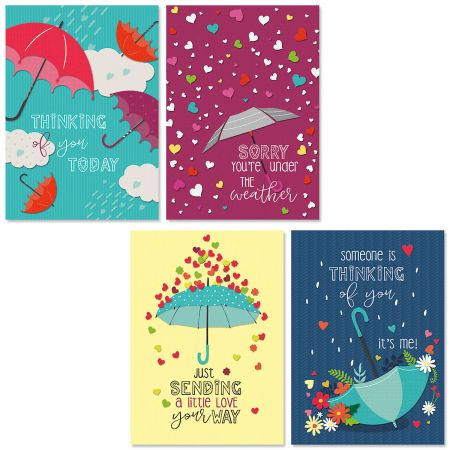 Raindrops Get Well Cards and Seals