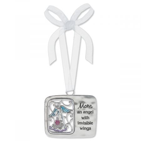 Mom Angel Wings Enameled Ornament