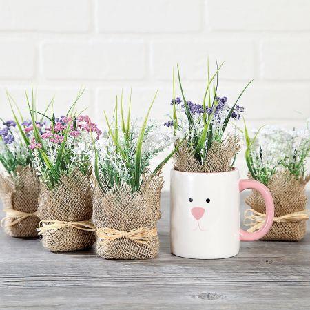 Flower Burlap Pot