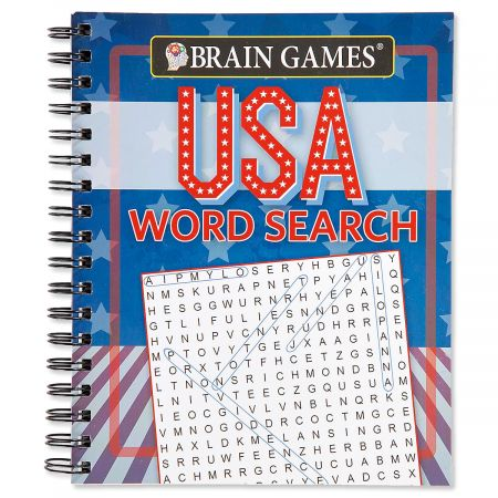 USA Word Search Brain Games Road trip, rainy day, downtime fun. 80+ simple-to-difficult USA-themed puzzles. Spiral-bound, 8  x 9-1/2 ; 192 pages.