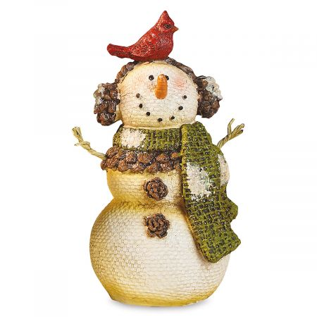 Snowman and Cardinal Figurine
