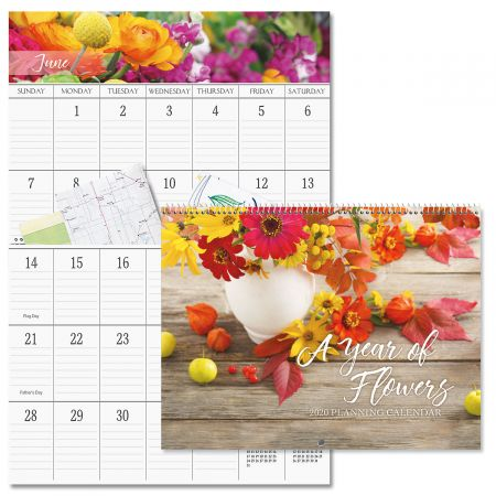 2020 Beautiful Flowers Big Grid Planning Calendar with Pockets