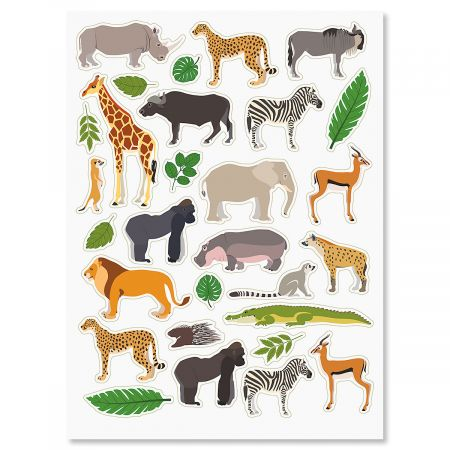 Wild Animals and Leaves Stickers