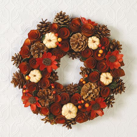 Wood Curl Wreath Indoor Pumpkin Design