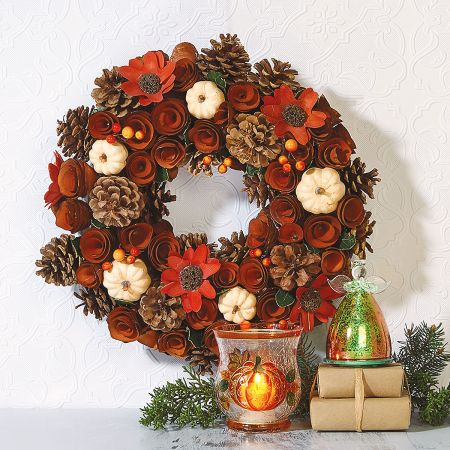 Autumn Wood Wreath with Enviroment