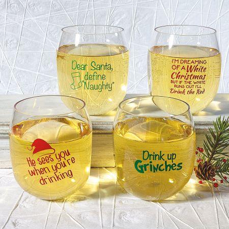 Unbreakable Christmas Wine Glasses