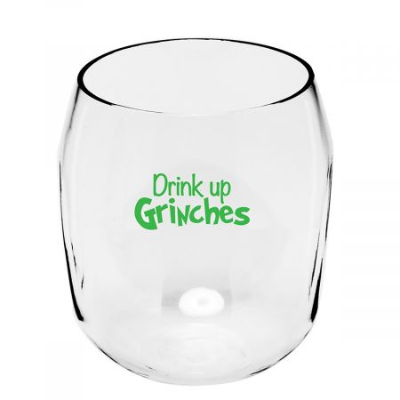 Drink Up Unbreakable Wine Glass This stemless glass holds 19 oz. Made of Tritan, a super-durable, plastic that's dishwasher safe, shatterproof, and virtually unbreakable.