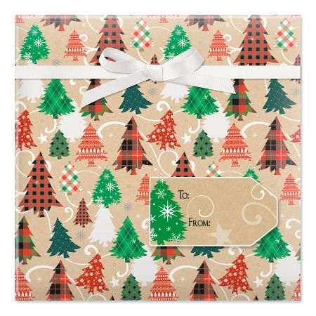 Plaid Trees on Kraft Jumbo Rolled Gift Wrap and Labels