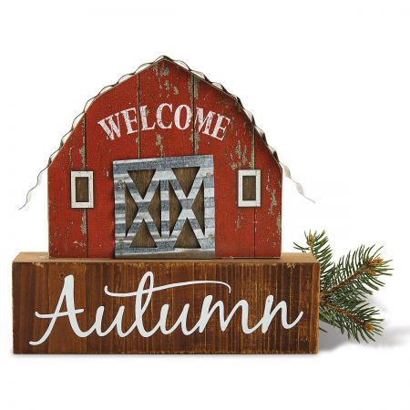 Welcome Autumn Red Barn Decor