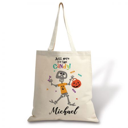 Kids' Personalized Skeleton Halloween Tote