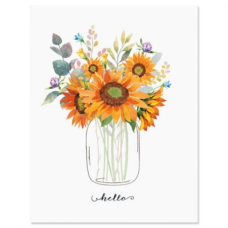 Lined Note Cards Flat Note Cards 36 pcs Custom Note Cards Sunflower Garden Design D00071-12