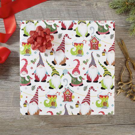 Joyful Gnomes Jumbo Rolled Gift Wrap and Labels