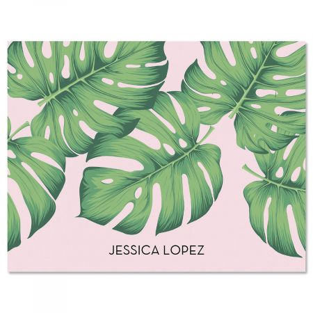 Pink Palms Personalized Note Cards