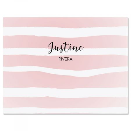 Pastel Island Stripes Personalized Note Cards