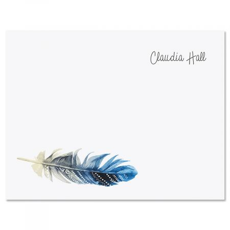 Boho Feather Personalized Note Cards