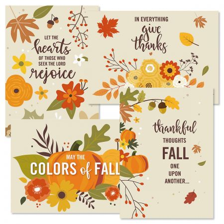 Lettering & Leaves Thanksgiving Cards