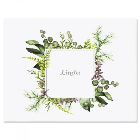 Botanical Watercolor Wreath Personalized Note Cards